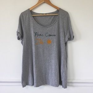 Anthropologie Little Yellow Button Graphic Tee